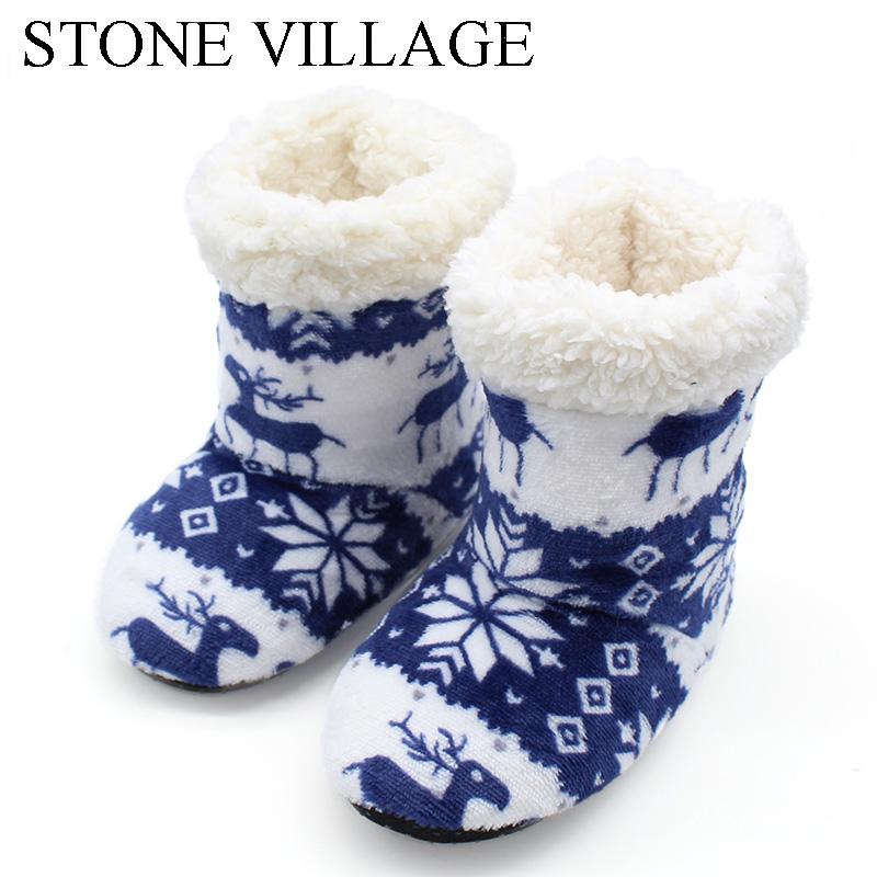 STONE VILLAGE Winter Cute Animal Prints Soft Plush Home Slippers Girls Boys Slippers Indoor Floor Kids Slippers Children Shoes