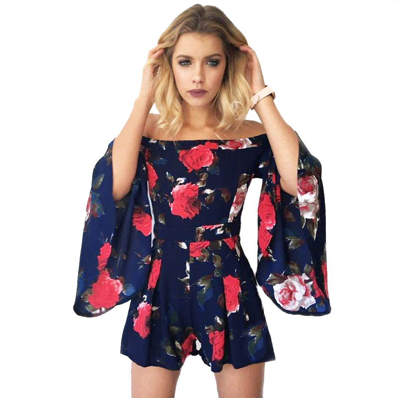 Casual womens wild jumpsuit pants trumpet sleeves word shoulder flower print jumpsuit summer fashion new Europe and America