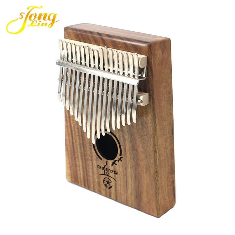 Tongling 17 Sleutel Vinger Kalimba Acacia Mbira Sanza Duim Piano Massief Hout Vinger met Carry