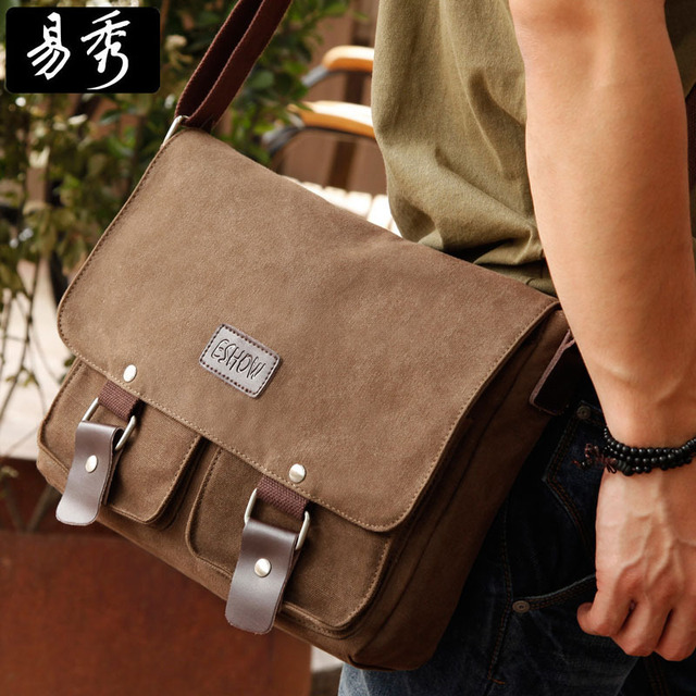 Aliexpress.com : Buy Eshow Brown Grey Canvas Men Messenger Bags ...