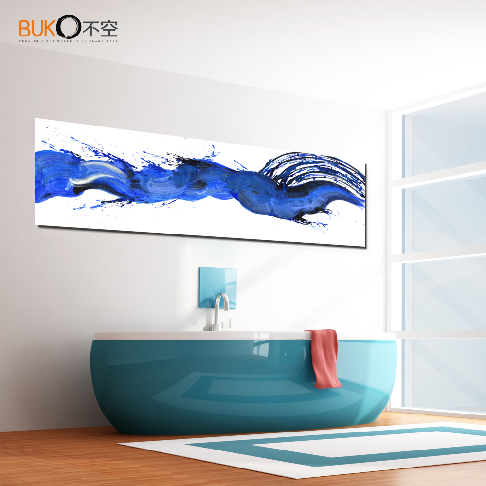 Home decor Bathroom Wall Art painting Beautiful blue Separate frameless HD canvas Dial out ink effect. Bathroom Art Paintings Promotion Shop for Promotional Bathroom Art