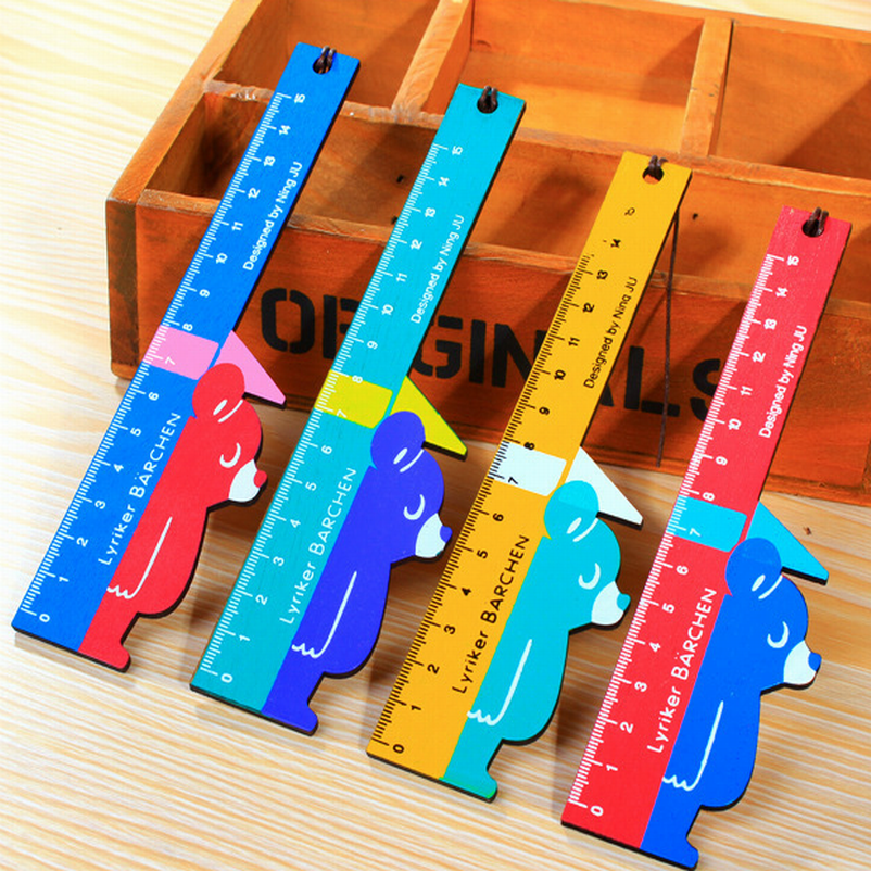 DHL Free Ship,Wholesale 100 Pcs/lot 2017 New Style Creative Wooden Rulers School Tools For Students Cute Vintage Bear Ruler