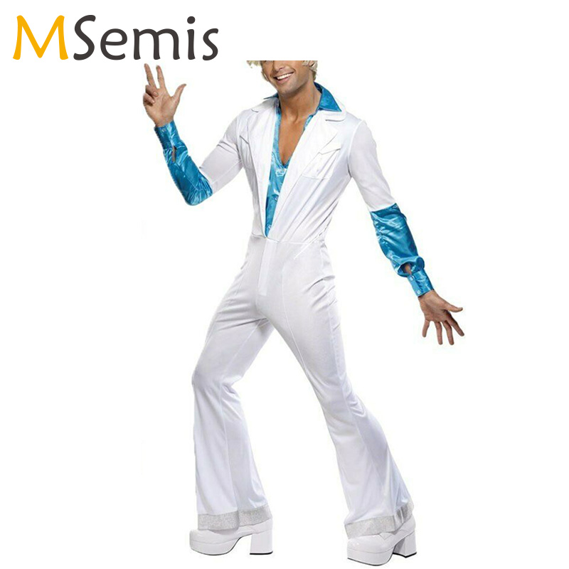 Mens Vintage 70s Disco Costume Jazz Dance Fancy Dress Lapel Collar Long Sleeves Bell Bottom Button Down Dancer Costume Jumpsuit