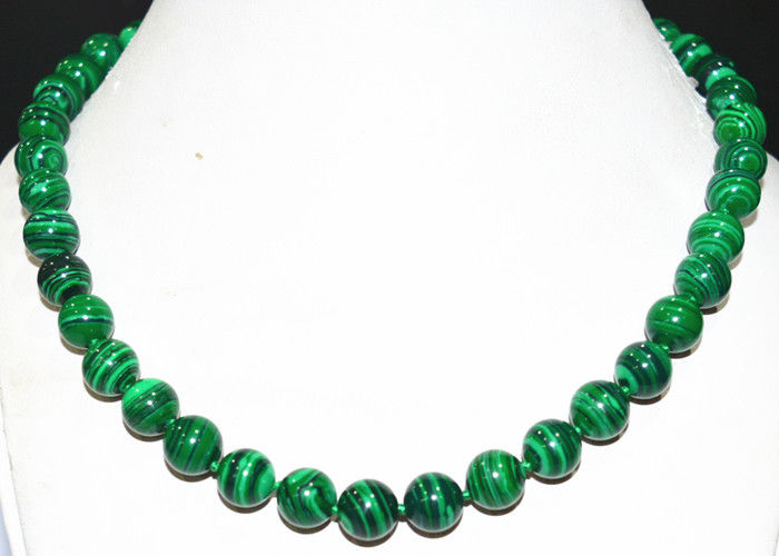 Women Gift word Love real New 10mm Green Gorgouese Malachite Gem Round Beads Necklace 18 WW