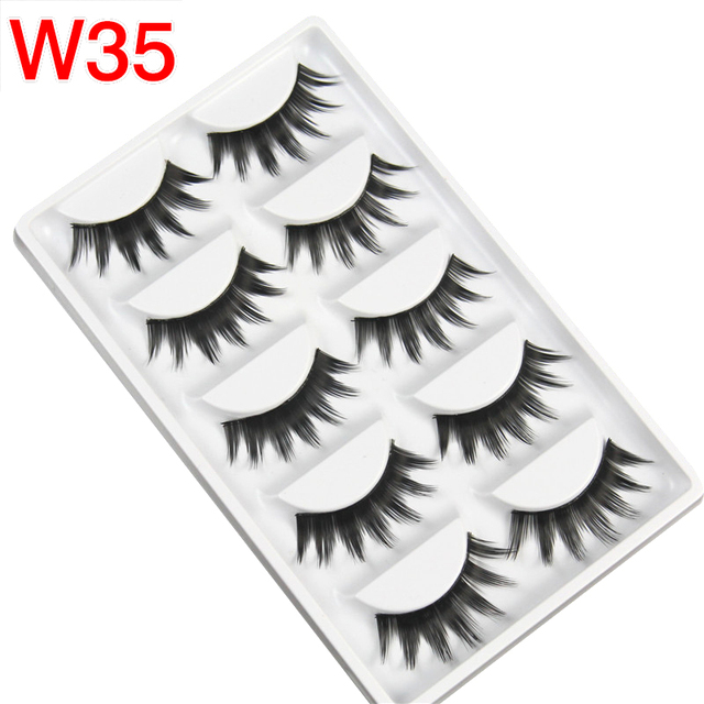 US $0 99 10% OFF|5 Pairs Strip Lashes Volume Wimper Bulk Lashes Black Long  Handmade Lashes Set Wholesale Cheap Eyelash Extention Tool W35-in False