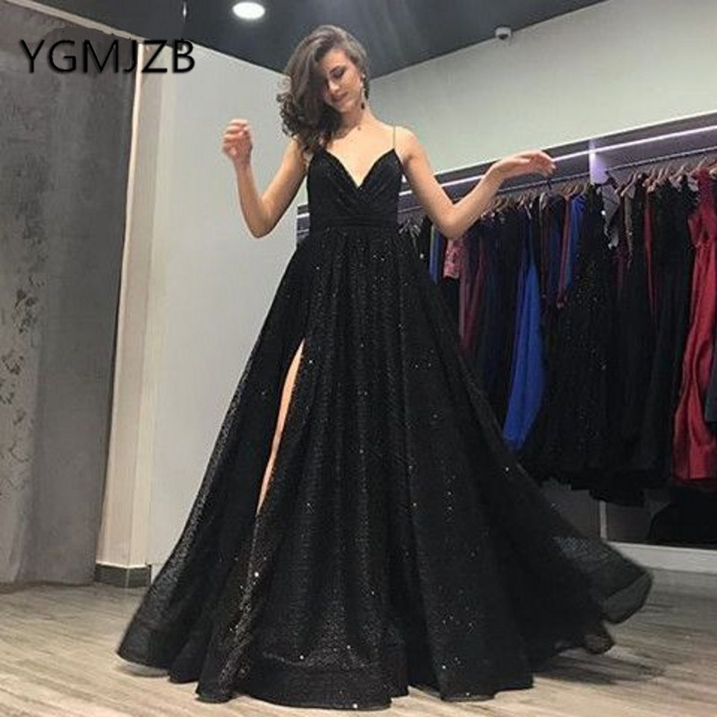 Black Glitter Sequin Prom Dresses 2019 A-line Deep V-neck High Side Slit Sexy Backless Saudi Arabic Women Formal Prom Party Gown