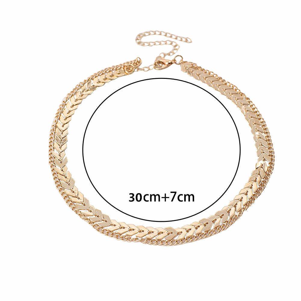 2019 da Cor do Ouro do metal Duas Camadas Gargantilha Colares Cadeia Espinha De Peixe simples Kolye collana jóias Bijoux collier Collares Mujer femme