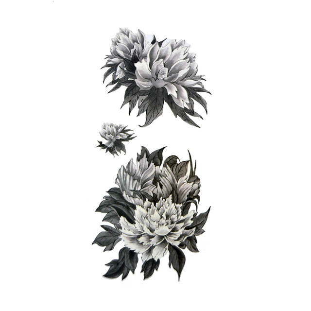 Online Shop Small Black And White Flower Tattoos Stickers Waterproof