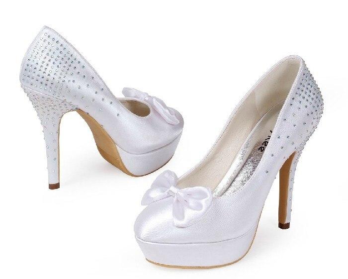 2016 White Bridal Wedding Shoes Round Toe High Heel Shoes Stiletto heel wedding pumps with bowknot Rhinestone Women Shoes fashion white elegant stiletto heel toe with rhinestone wedding bridal shoes platforms comfortable pumps round toes
