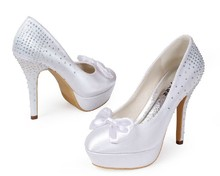2016 White Bridal Wedding Shoes Round Toe High Heel Shoes Stiletto heel wedding pumps with bowknot Rhinestone Women Shoes