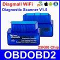 PIC18F25K80 Diagmall Mini WiFi V1.5 Scanner Auto Ferramenta de Diagnóstico Chip Melhor Do Que ELM327 OBD2 Code Reader Para Carros Multimarcas