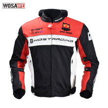 GHOST RACING Motorcycle waterproof windproof protective racing jacket with 5 Armor thermal vest motorcycle MTB riding