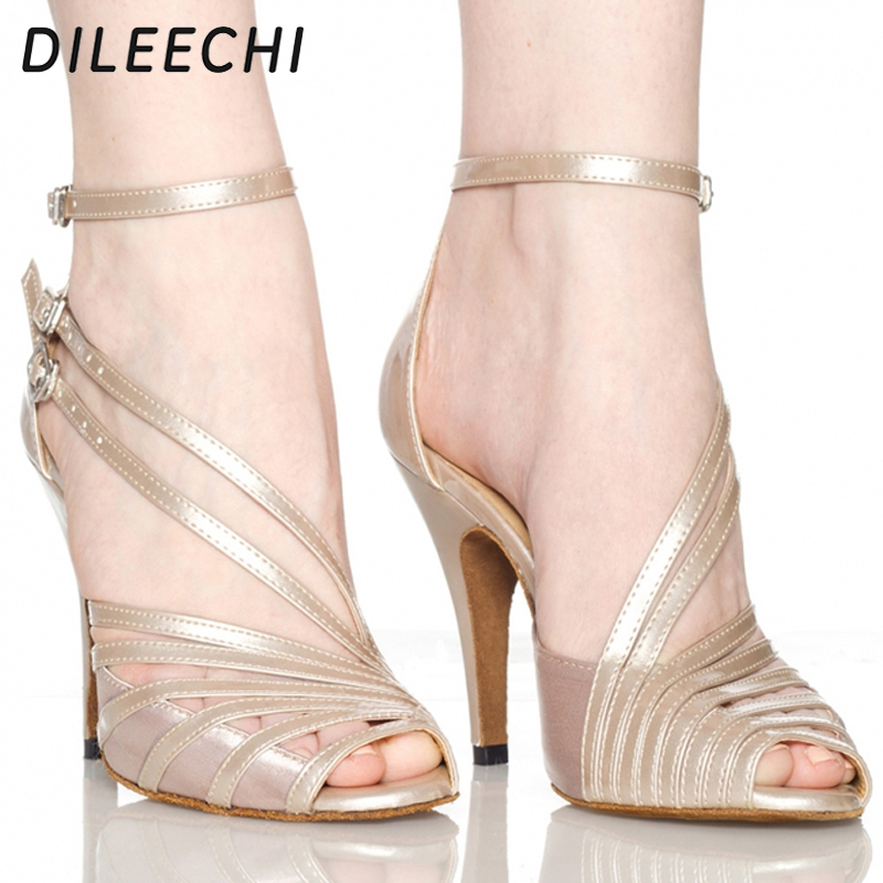 DILEECHI Spot wholesale popular Gray black PU women's Latin dance shoes High heels 8.5cm 10cm Salsa Party Square dance shoes