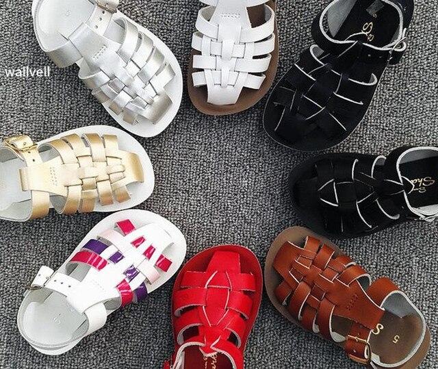Wallvell anak-anak kulit sandal menutupi tumit sandal pantai sepatu sandal  anak laki-laki b71e2e948d
