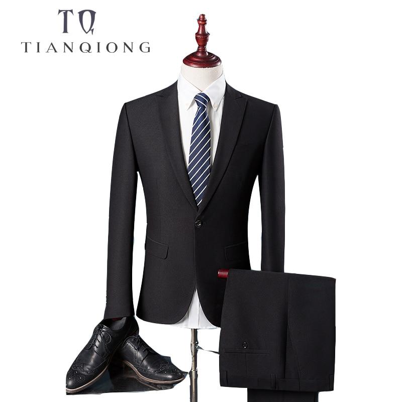 TIAN QIONG Cheap Men Suit Latest Coat Pant Designs Slim Fit Men's Suits Formal Black Business Groom Wedding Suits For Men Size