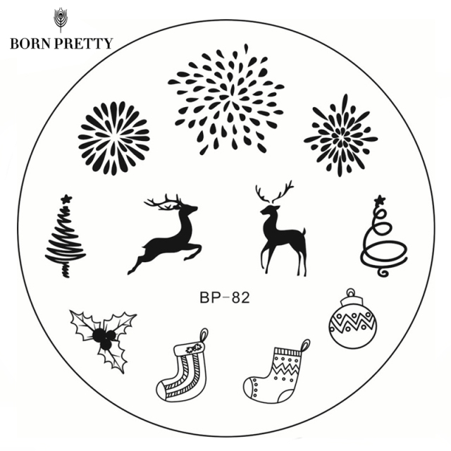 born pretty new year christmas stamping plate bp 82 xmas tree deer nail art stamp - Christmas Stamp