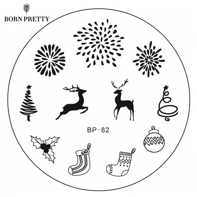 BORN PRETTY New Year Christmas Stamping Plate BP 82 Xmas Tree Deer ...