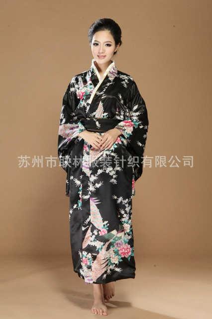 6e194eb12e Online Shop black traditional Japanese clothing Women s Silk Satin Kimono  Yukata Evening Dress Haori Kimono With Obi peafowl One Size