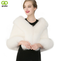GOPLUS 2019 Winter Overcoat Fake Fur Cloaks Poncho Fur Wedding Cape For Women Lady Black White Warm Luxury Elegant Bridal Shawl