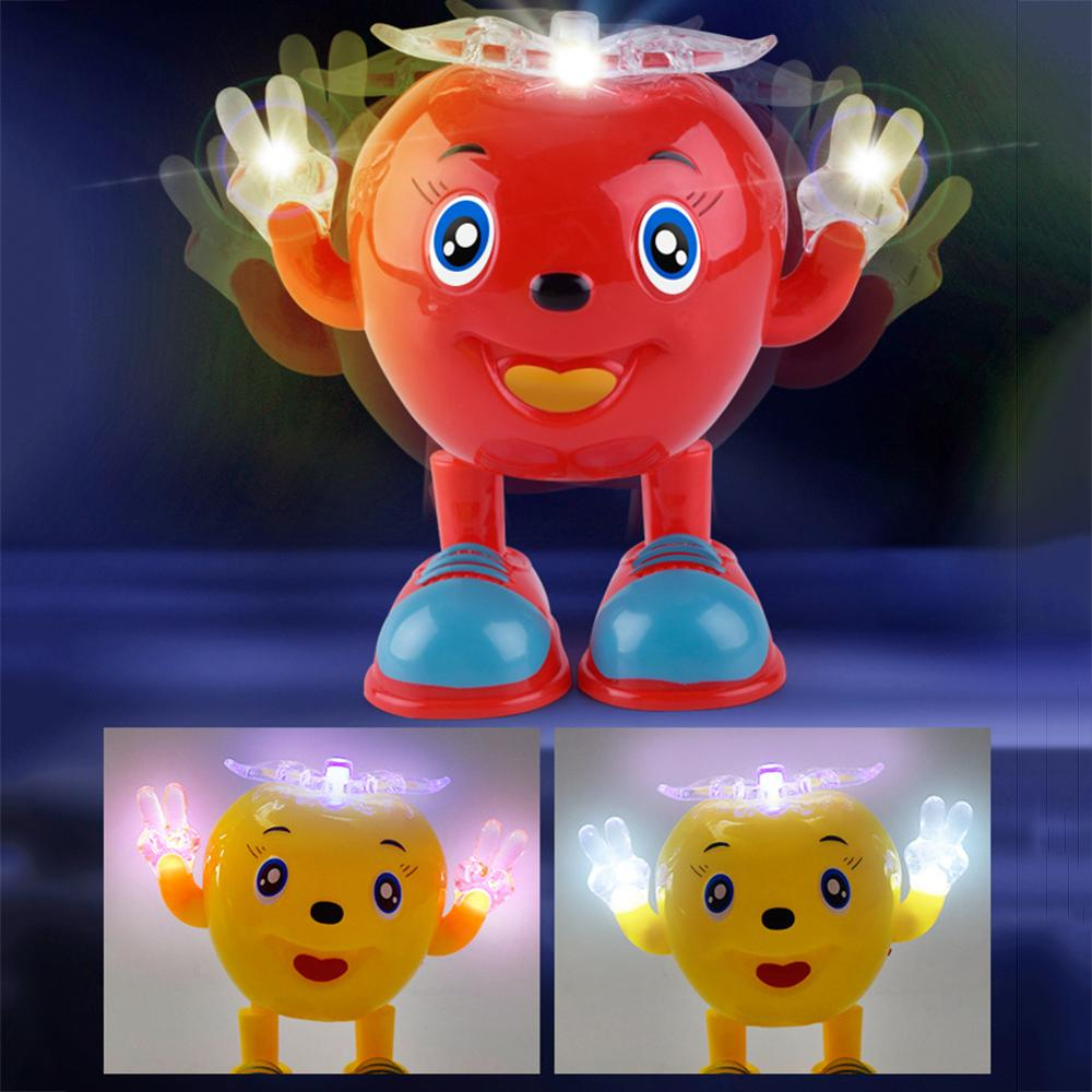 Cute Electric Dancing Apple Robot With LED Flashing Music Kids Interactive Toy