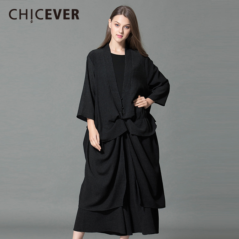 CHICEVER Spring Two Pieces Set Women Long Sleeve Cardigan Top With Elastic Waist Loose Big Size Wide Leg Pants Clothes Fashion cropped wide sleeve top