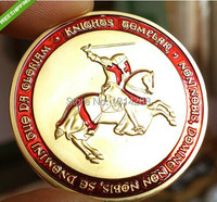 Sample Order RED KNIGHTS TEMPLAR RED CROSS 24KT GOLD PLATED COLOR COIN CAPSULE 1pcs Lot Free