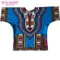 Mujeres Algodón Dashiki Mini Vestido Unisex Dashiki Camisetas de Algodón de Impresión Camisas Con Bolsillos 100% Algodón de Moda de Estilo Africa