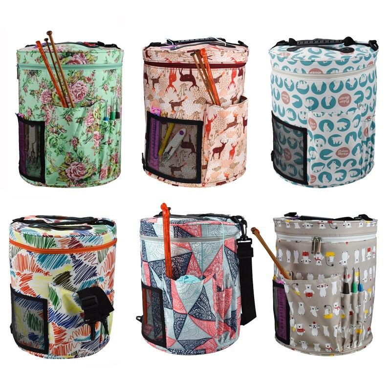 17 Styles Big Capacity DIY Knitting Bag Home Crochet Hooks Yarn Wool Organizer Sewing Kit Bag Yarn Knitting Tote Bag For Women