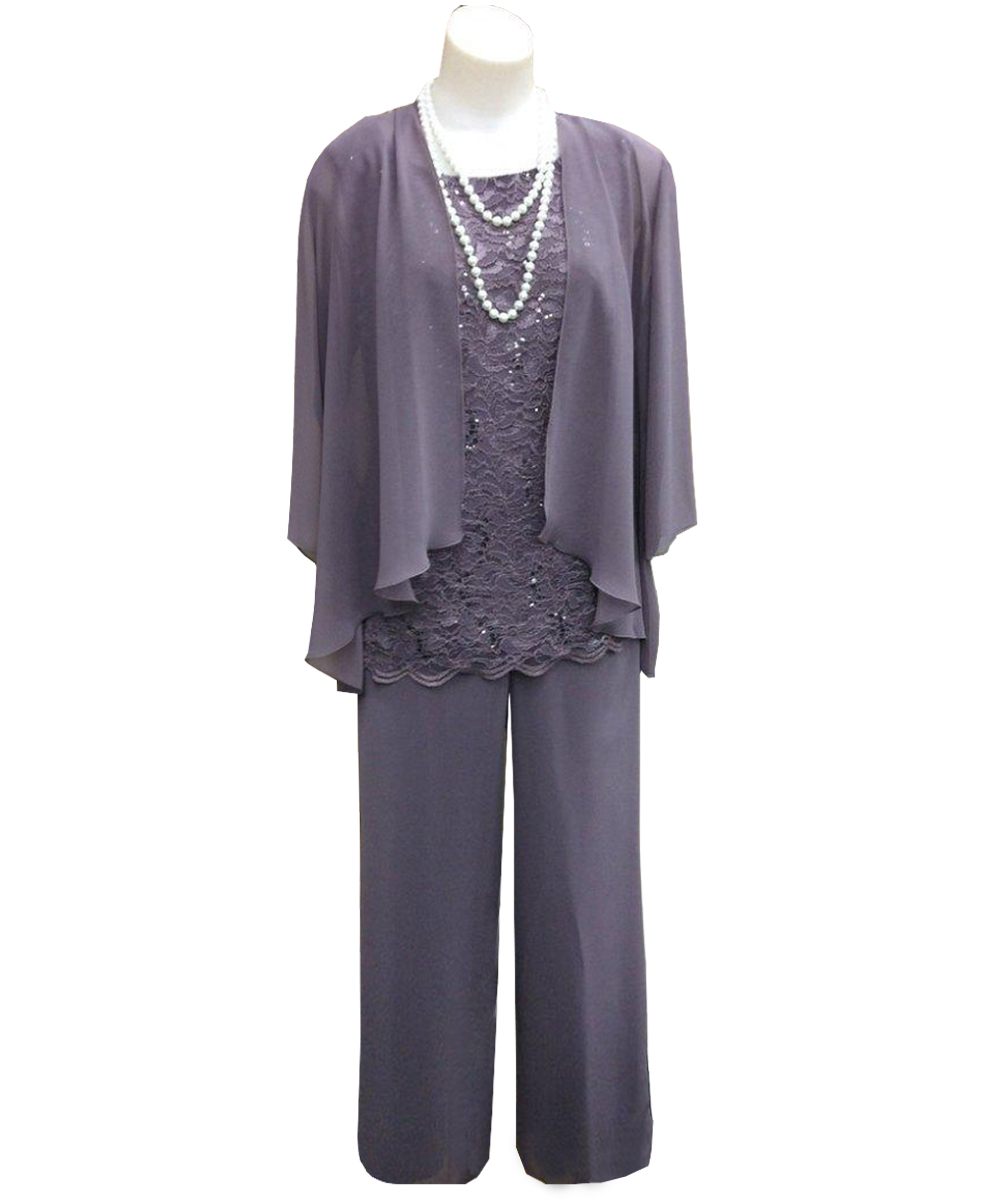 Formal Evening Dress 3 Three Pieces Mother Of the Bride Dress Pants Suit With Jacket Outfit