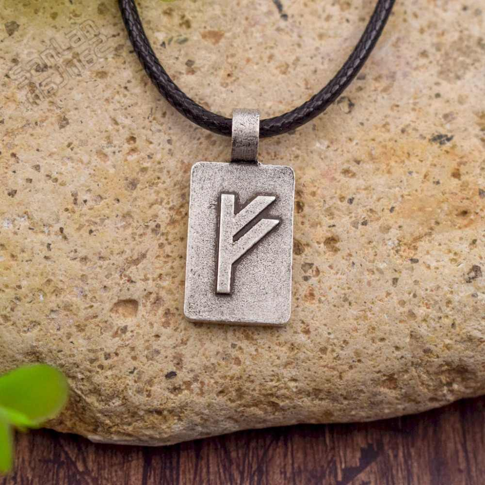 SanLan Elder Futhark Rune Pendant Necklace, Norse Viking Runestone Jewelry in Hand Cast Pewter