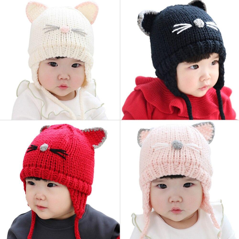 New Cartoon Cat Ears Cute Baby Cap Soft Newborn Baby Beanie Warm Winter Hat for Baby Girls Boys Knitted Kids Hats