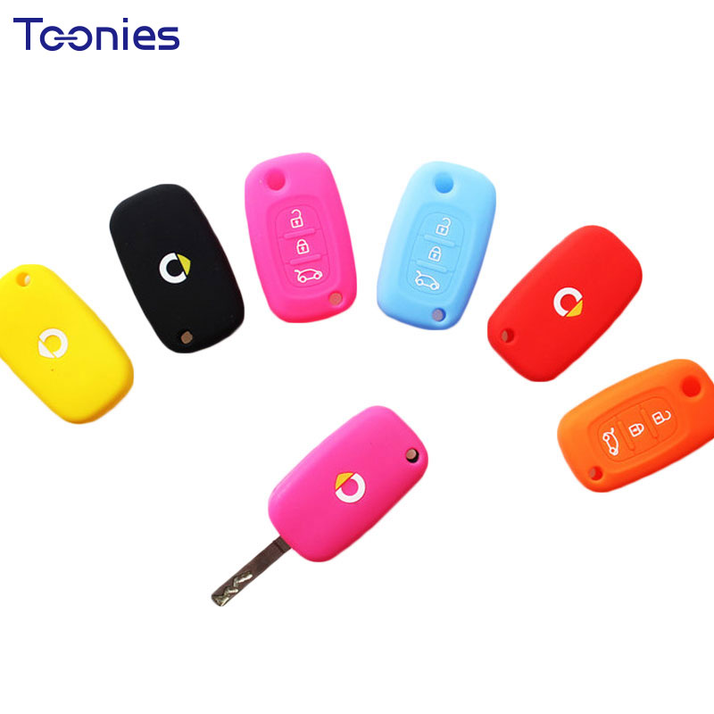 2018 New Smart 453 Fortwo Forfour Silicone Key Case Car Remote Control Accessories Keychain Bag Alarm Car Model Case Logo Cover