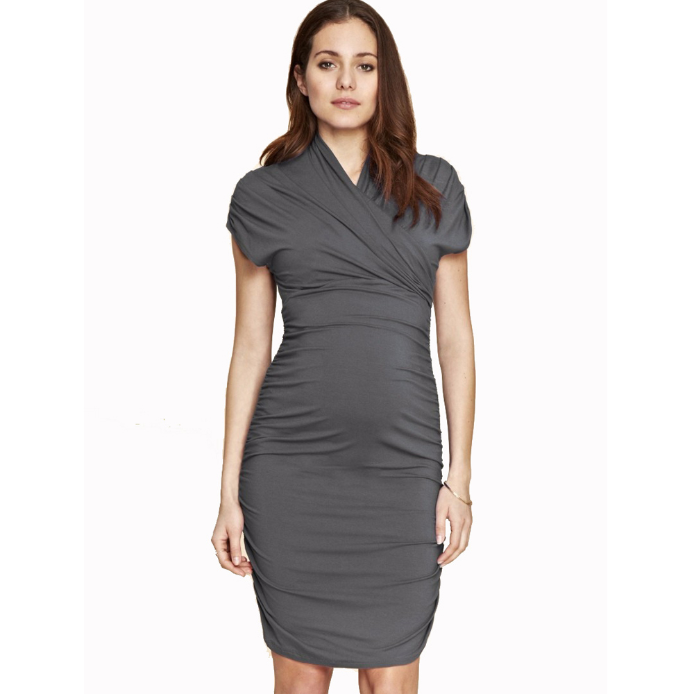 Criss-Cross Maternity Wrap Dress for Pregnant Women Knee Length Office Lady Business Party Dresses New Working Women Vestidos купить в Москве 2019