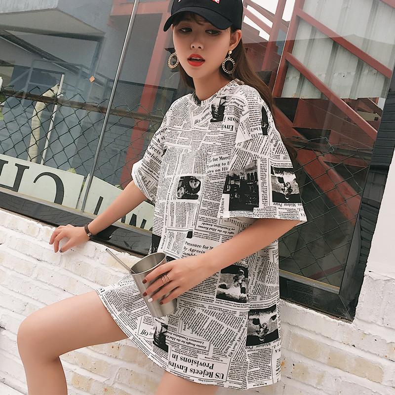 cheap clothes china New summer Women s Clothing Apparel korean hipster  harajuku loose fashion brand Graffiti letter ecf8d4fec8ef