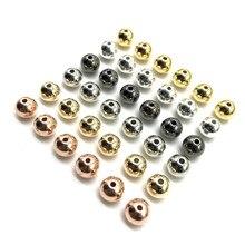 3, 4, 6, 8, 10, 12 мм, 20-50 шт, бусины с медным покрытием, круглые бусины для украшения, рукоделие, браслет, ожерелье