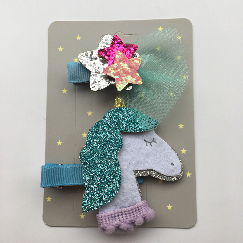 2018 Hot Cartoon Animal Hair Clip Glitter Synthetic Leather Unicorn Hairpin Animation Horse Kid Hair Barrette Sparkly Star Grips han edition hair pearl four petals small clip hairpin edge clip a word free home delivery