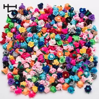 654d4d7b46ef Color mezclado Rosa flor Fimo cuentas Material para la fabricación de la  joyería de las niñas pulsera Diy Perles de arcilla de polímero perlas al  por mayor ...