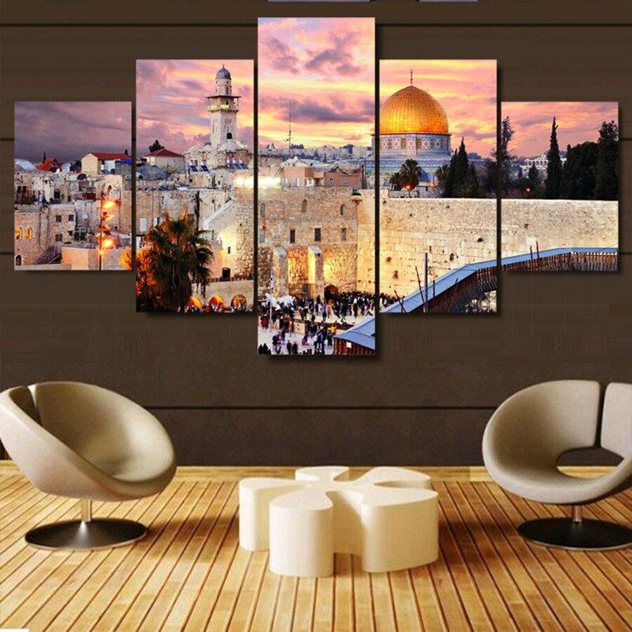 Western Decor Paint: 5 Piece,Jerusalem Sunset Landscape Islam Building,DIY