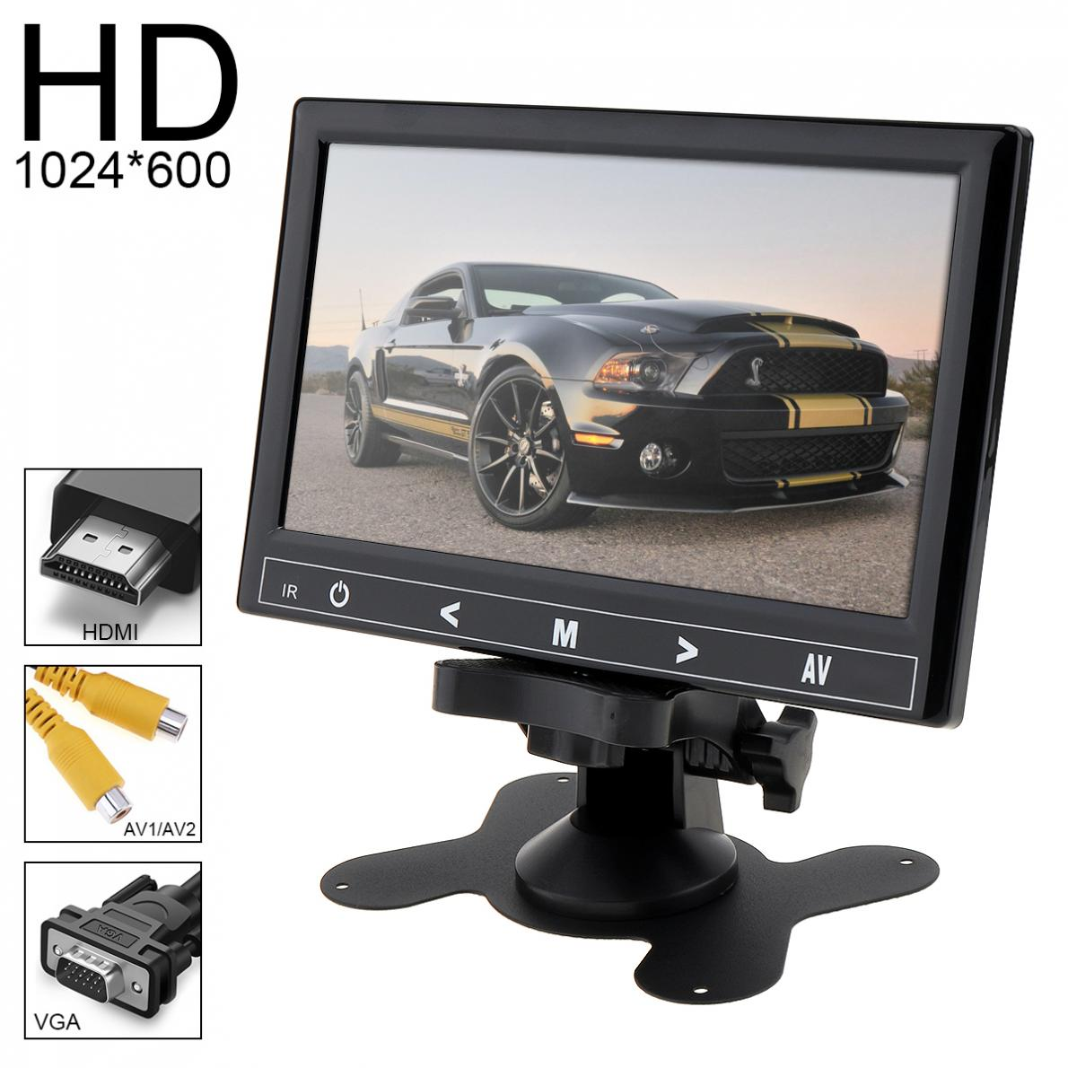 7 Inch 16:9 HD TFT LCD Color Car Rear View Monitor 2 Video Input DVD VCD Headrest Vehicle Monitor Support Audio Video HDMI VGA купить в Москве 2019