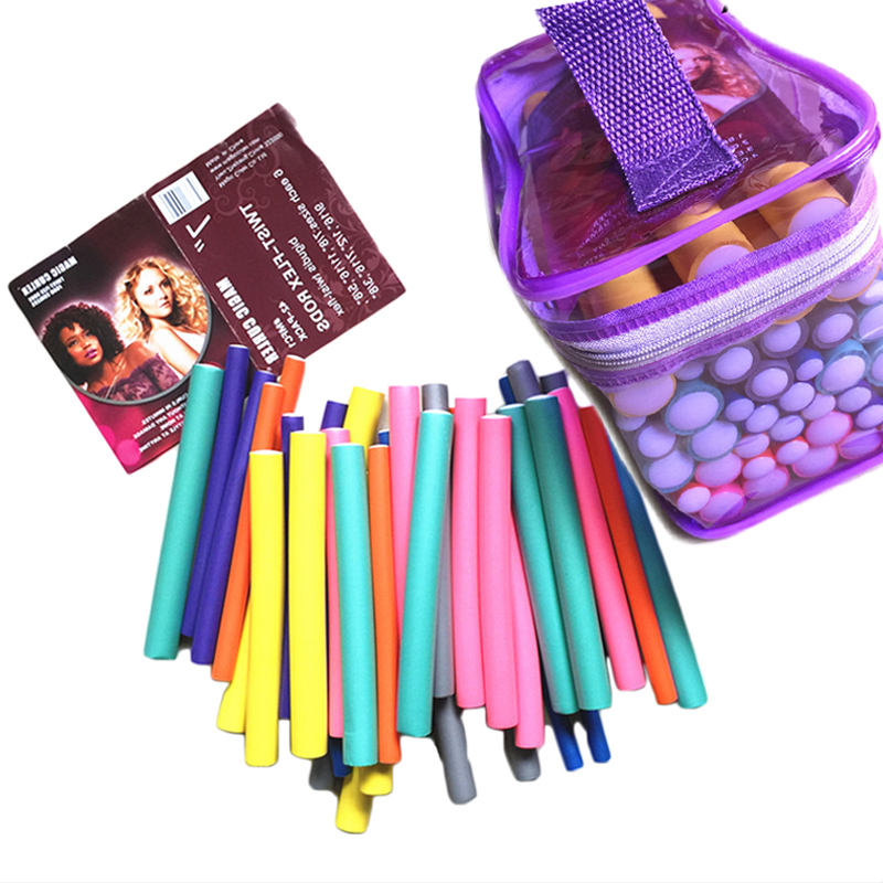 MOONBIFFY 42pcs/set 7 Styles Magic Hair Curler Rollers Spiral Foam Bendy hair curling flexi rods drop shipping