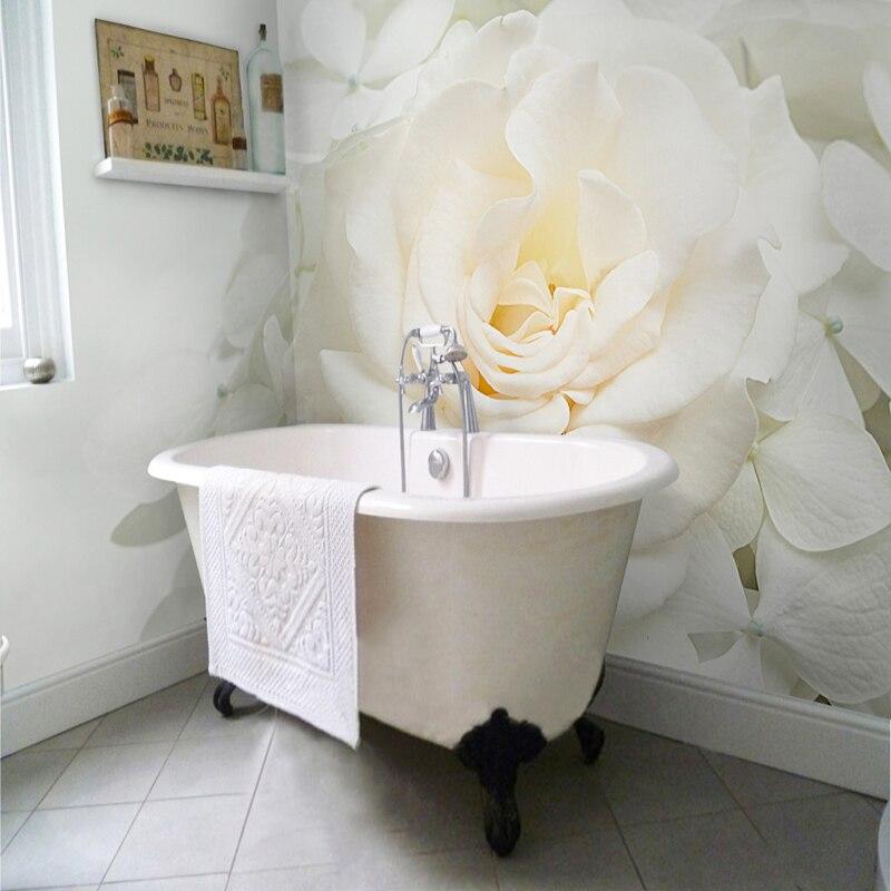 Custom 3D Mural Wallpaper Modern Simple White Rose ...