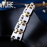Healthy Magnetic Power Titanium Bracelets Bio Energy White Ceramic Bracelet For Women Men Elegant Gold Trendy Bracelet Jewelry