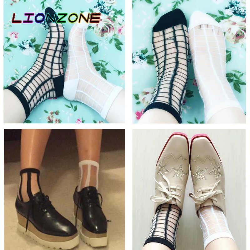 LIONZONE 10 пар/лот кружева прозрачный кристалл Для женщин носки разнообразных Стиль Comfy Sheer шелк смешные носки Харадзюку Calcetines Mujer