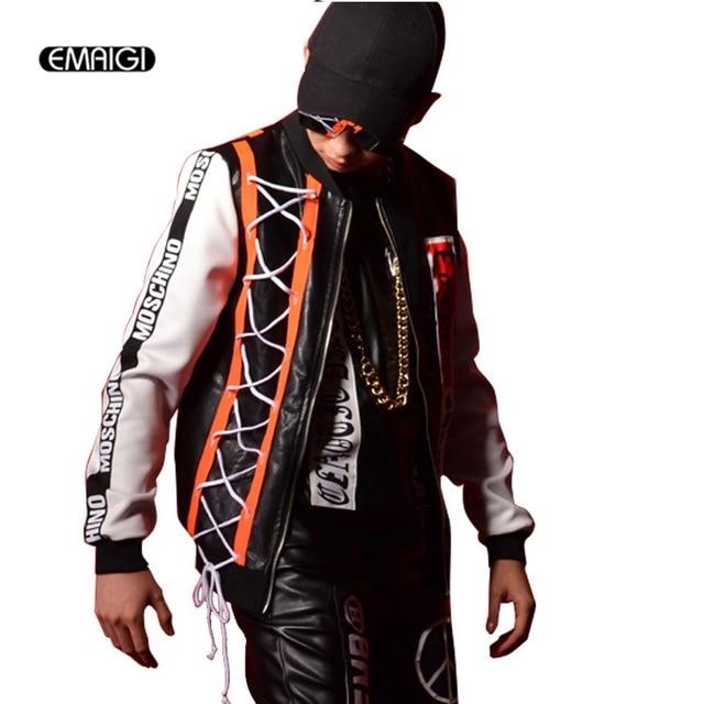 Male Streetwear Fashion Hiphop Leather Jacket PU Leather Splice Pattern Baseball Coat Singer Dancer Cool Men Stage Show Clothing