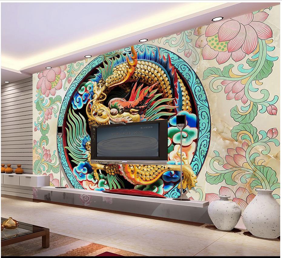 popular dragon 3d wall murals wallpaper buy cheap dragon 3d wall custom 3d photo wallpaper 3d wall murals wallpaper high grade dragon embossment background wall paintings