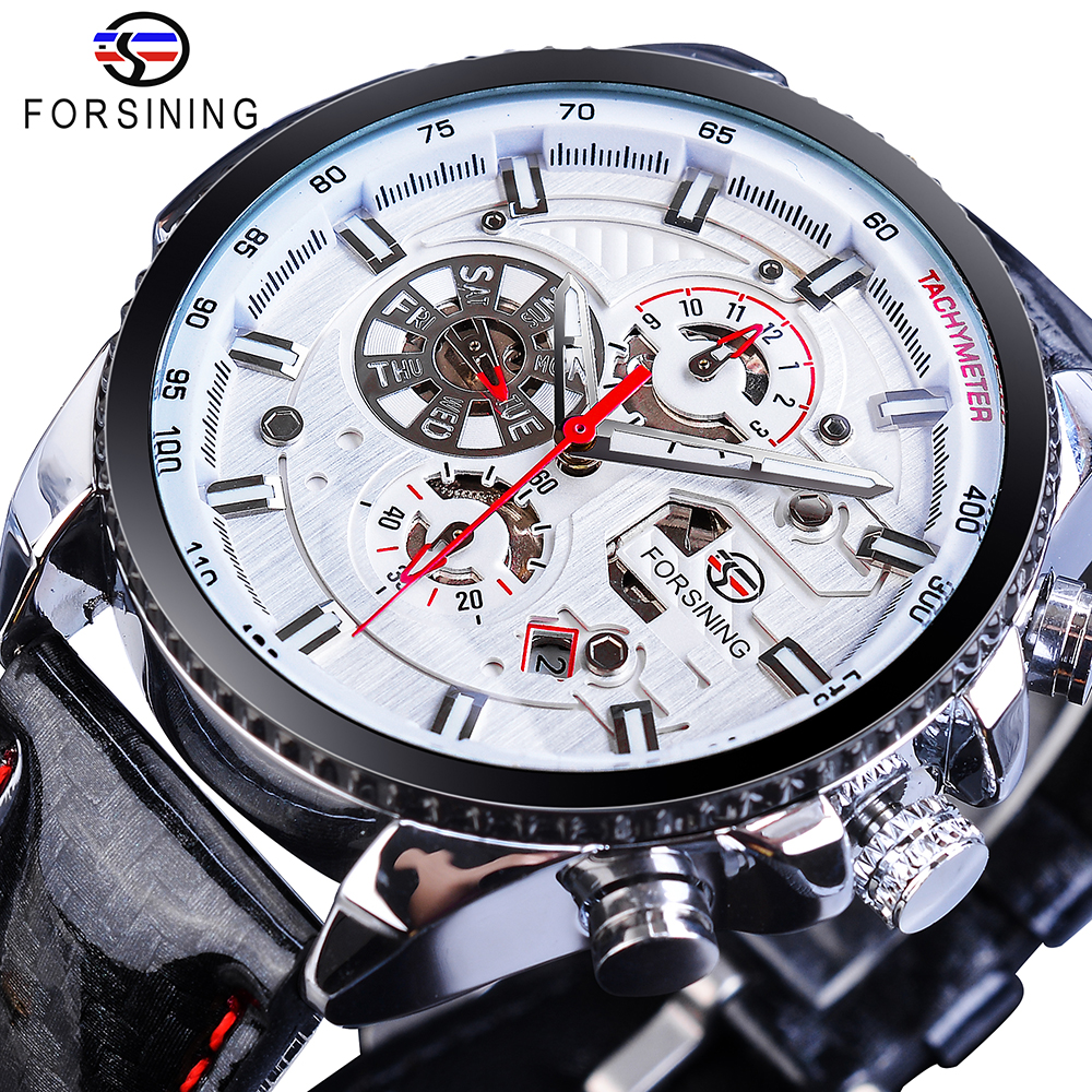 Forsining Men Automatic Self Wind Watch Mechanical Luminous 3 Dials Date Genuine Smooth Leather Speed Racing Sport Fashion Clock