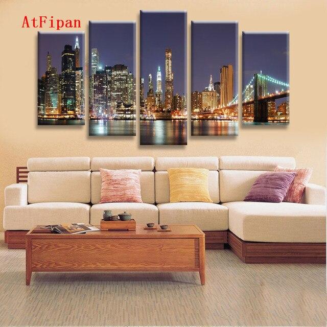 AtFipan Home Decor Wall Art Modular Pictures Of Manhattan Brooklyn ...