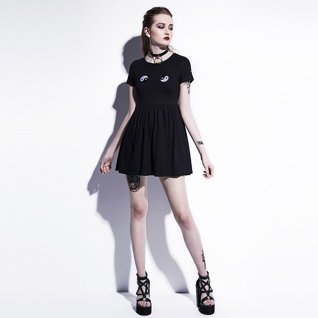 Young17 Gothic Mini Dresses Women Black A-Line Summer New O-Neck Pullover Embroidery Plain Fashion Sexy Club Gothic Mini Dresses 3