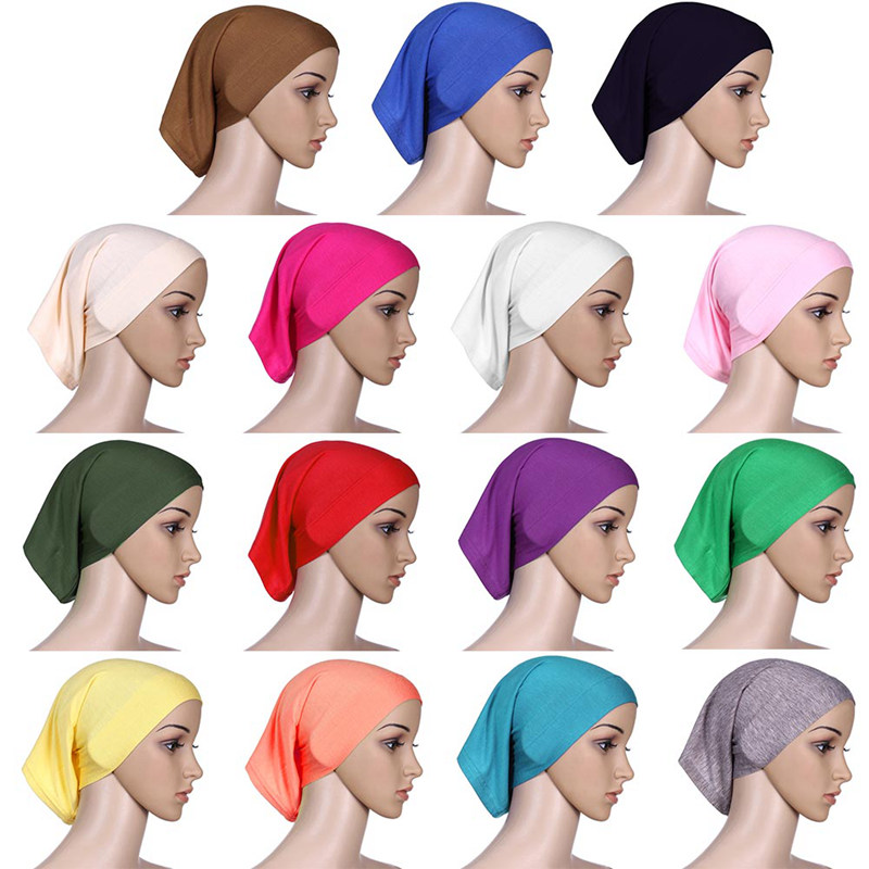 New Islamic Muslim Women's Head Scarf Mercerized Cotton Underscarf Cover Headwear Bonnet Plain Caps