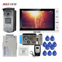 Бесплатная доставка 9 цветной экран видео домофон система + белый монитор + водостойкий RFID дверной Звонок камера + Электрический замок